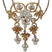 CMCC SALE! 14k Art Nouveau Baroque Seed Pearl Grape Vine Necklace