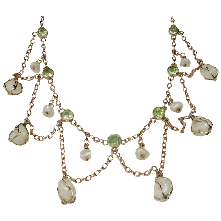 LDL SALE! Antique Art Nouveau Peridot Baroque Cultured Pearl Festoon Necklace