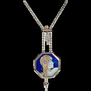 ERTE ''AVENTURINE State 11'' Lapis Sapphire Pendant Necklace