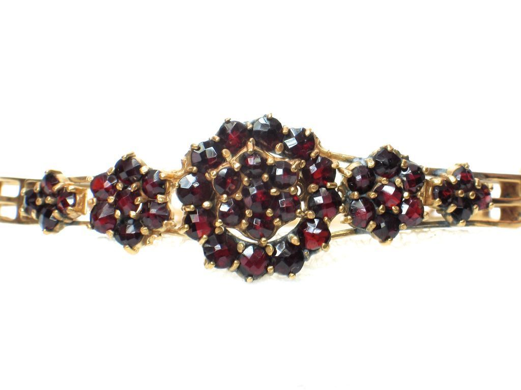 LDL SALE! Antique Bohemian Garnet Bangle Bracelet
