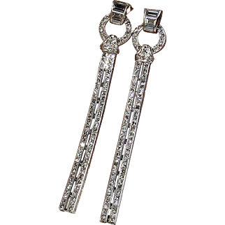 SAVE $800 in our SUPER SUMMER SALE! Magnificent Platinum ART DECO Diamond Drop Earrings