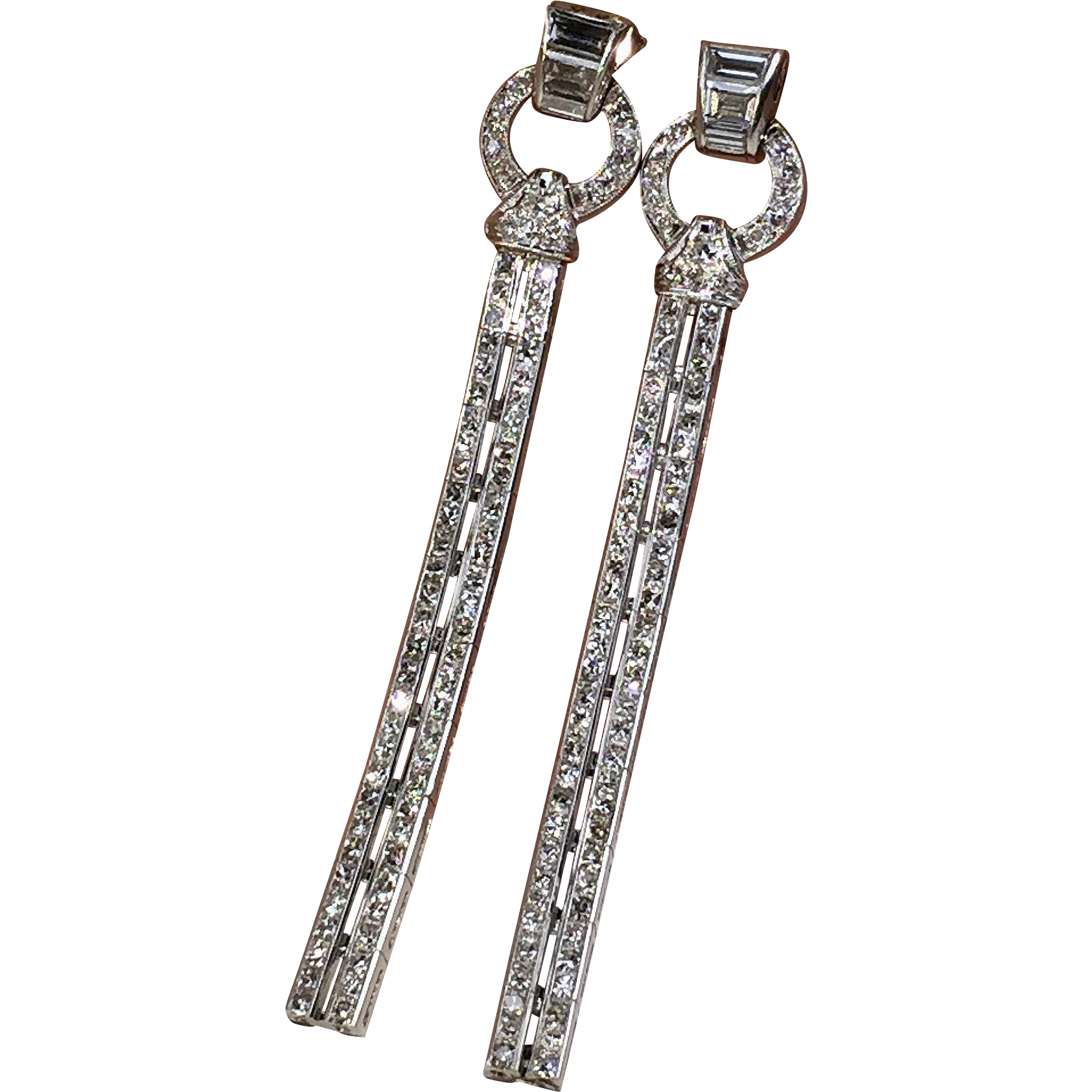 Magnificent Platinum ART DECO Diamond Drop Earrings from