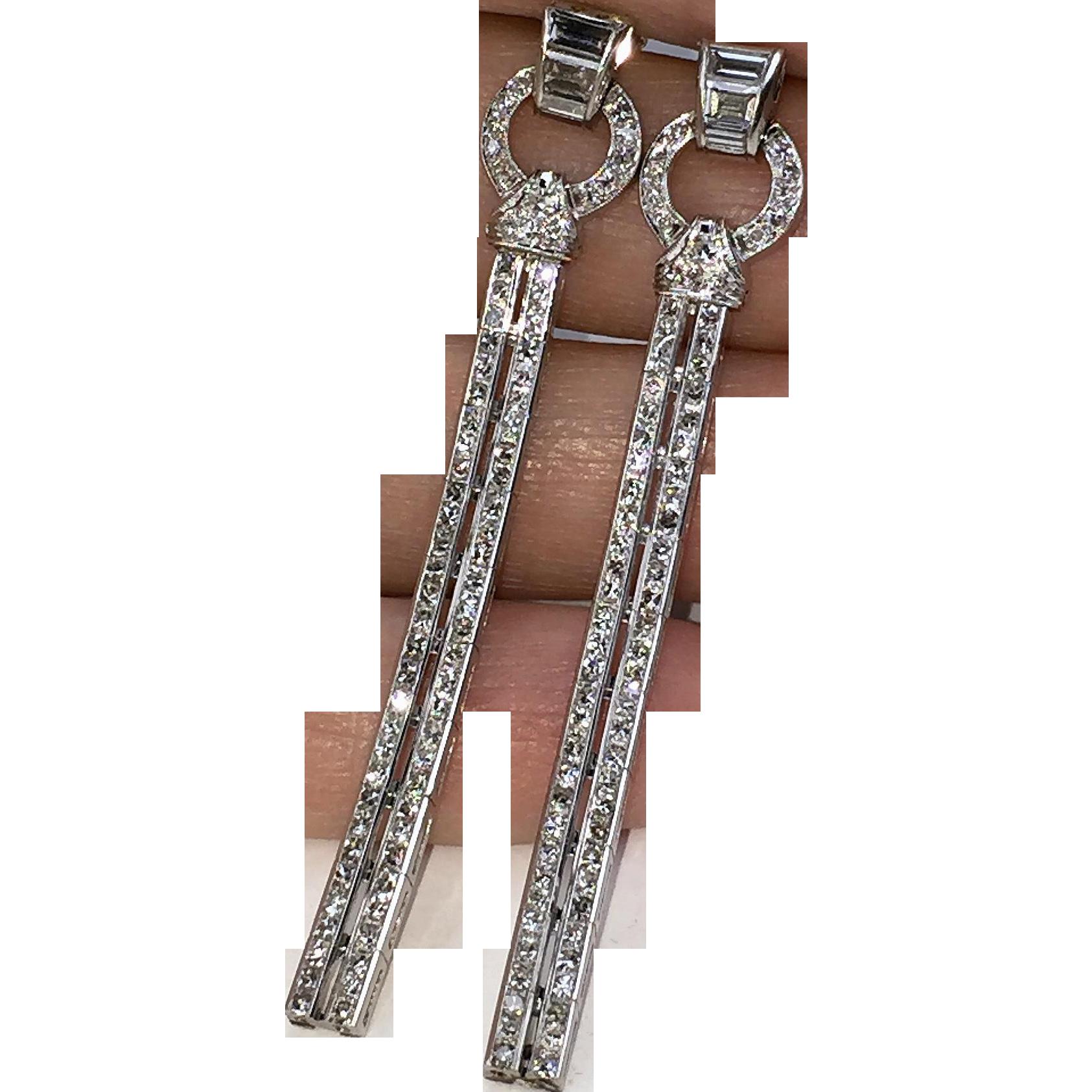 Magnificent Platinum ART DECO Diamond Drop Earrings