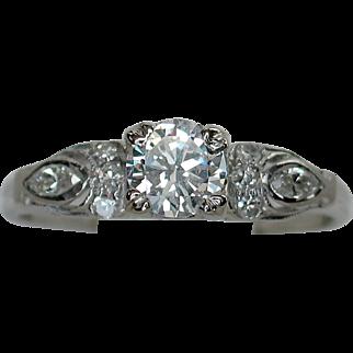 Darling Art Deco 10% Iridium Platinum Diamond Engagement Ring