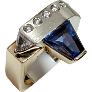 One-of-a-Kind Designer 14kt Tanzanite & Diamond Ring