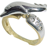 14k two-tone Spinning Dolphin Ring with 5 cubic zirconia stones