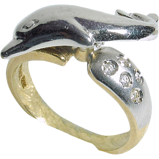 CHRISTMAS CLEAROUT SALE: Save 50% on this 14k two-tone Spinning Dolphin Ring with 5 cubic zirconia stones