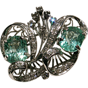 Certified Vintage Double Emerald & Diamond Cocktail Ring