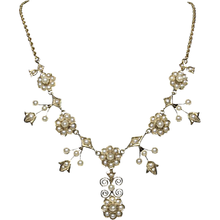 Antique 14k Gold Hallmarked Seed Pearl Daisy Necklace