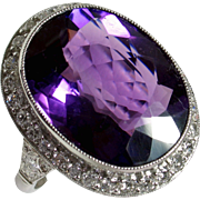 Magnificent Late Edwardian Platinum Amethyst Diamond Evening Ring