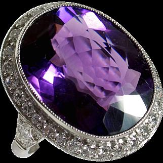 Magnificent Late Edwardian Platinum Amethyst Diamond Evening Ring