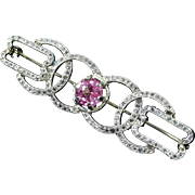 EDWARDIAN Platinum 14kt Rose-Cut Diamond & Unheated Pink Sapphire Brooch