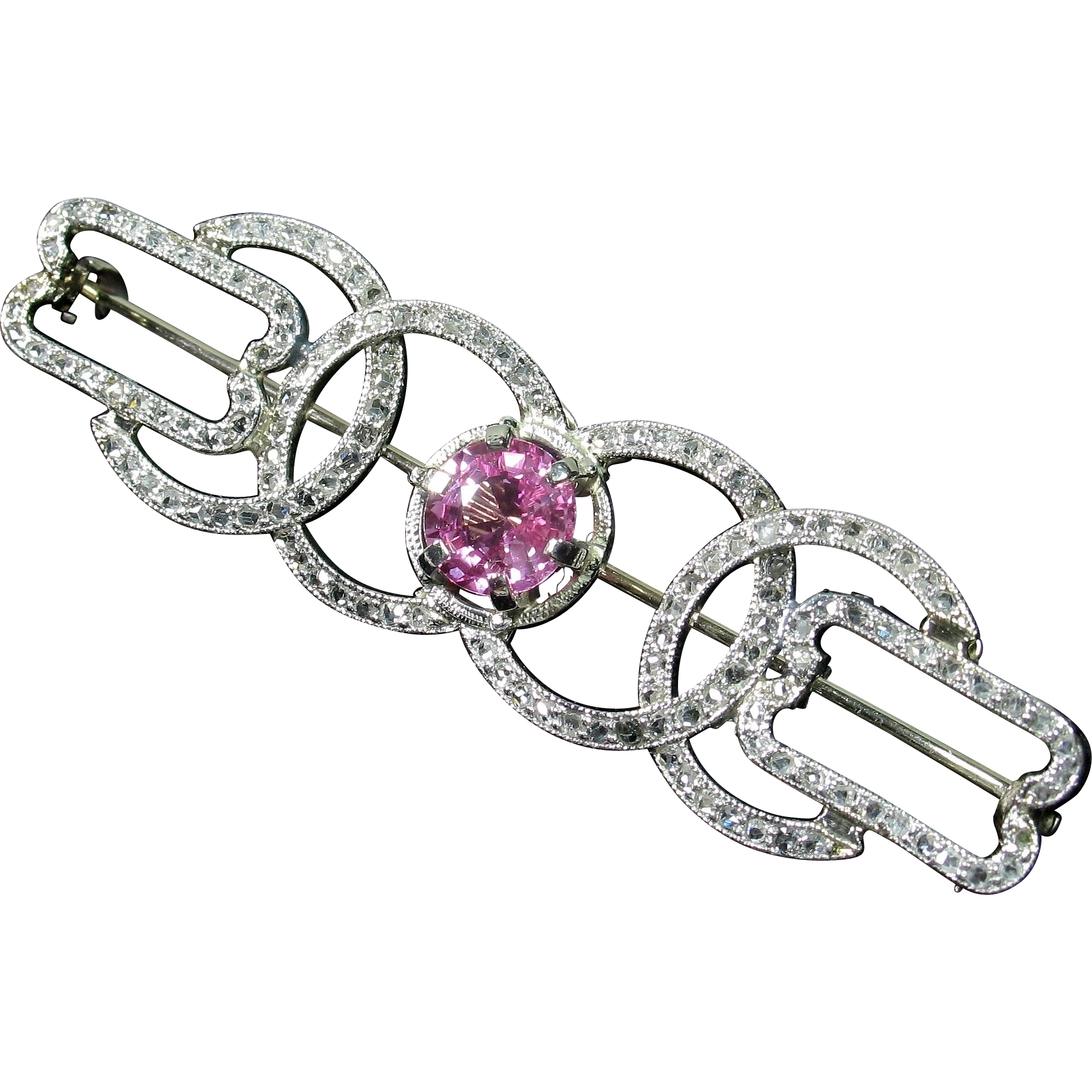CMCC SALE! EDWARDIAN Rose-Cut Diamond & Unheated Pink Sapphire Brooch
