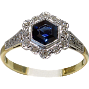 Darling 18kt EDWARDIAN c.1910 Sapphire & Diamond Engagement Ring