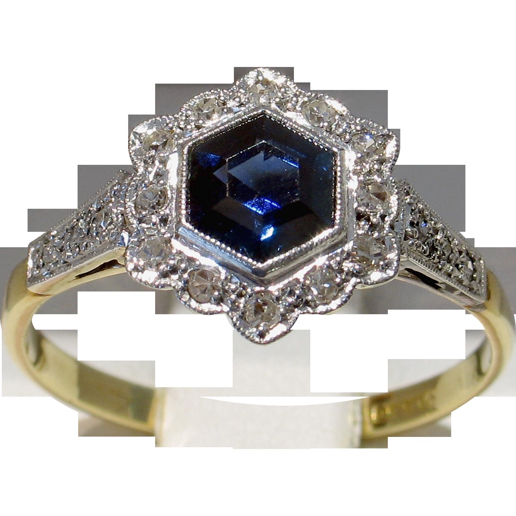 Darling 18kt Edwardian c 1910 Sapphire & Diamond Engagement Ring