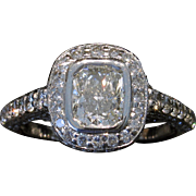 OFFER! Estate 18kt EGL 2.19ctw Cushion Diamond Engagement Ring