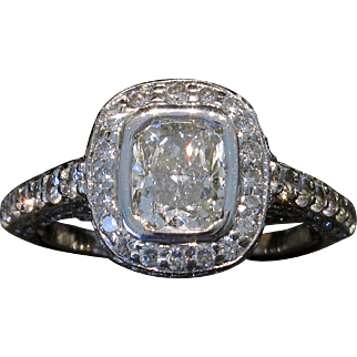 Estate 18kt EGL 2.19ctw Cushion Diamond Engagement Ring