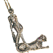 "CHRISTMAS CLEAROUT SALE!  SAVE 50%! Erte ""L"" 14k Pendant/pin with Diamonds & Rubies-CFA, Designer Signed"