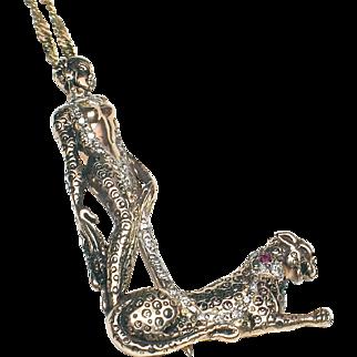 "ERTE ""L"" 14k Pendant/pin with Diamonds & Rubies-CFA, Designer Signed"