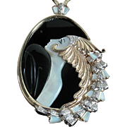 "ERTE ""Beauty and the Beast"" Diamond, Mother of Pearl & Onyx 14k Pendant in Original black velvet case + Certification"