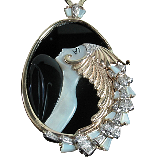 """ERTE """"Beauty and the Beast"""" Diamond, Mother of Pearl & Onyx 14k Pendant in Original black velvet case + Certification"""