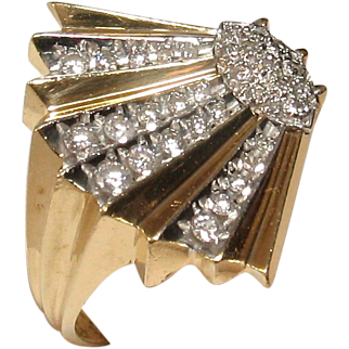 "Erte ""Coquillage"" 14k Diamond Ring - Artist Proof!"