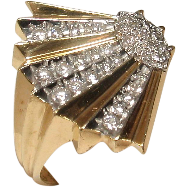 "Erte ""Coquillage"" 14k Diamond Ring - Artist Proof!"