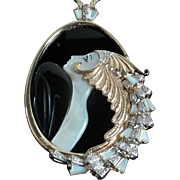 """Beauty and the Beast"" Diamond, Mother of Pearl & Onyx 14k Pendant in Original black velvet case + Certification"