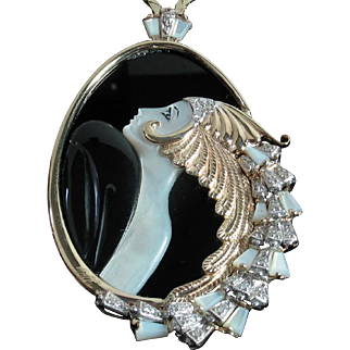 """Beauty and the Beast"" Diamond, Mother of Pearl & Onyx 14k Pendant in Original black velvet case + Certification"