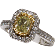 BEAUTIFUL 18kt Vintage Glowing Fancy Yellow Diamond Engagement Ring