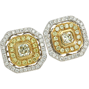 BCS SALE! GORGEOUS 18kt Fancy Yellow Diamond Earrings