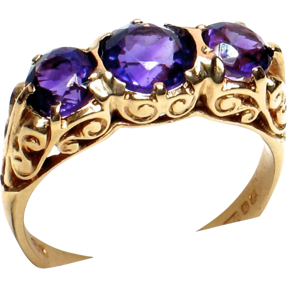 LDL SALE! Triple Amethyst Ring in Ornate 9ct. Gold Mount - British Hallmarks 1976