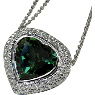 """VALENTINE DREAM! Stunning Vintage Designer """"Heart"""" Tourmaline Diamond Necklace"""