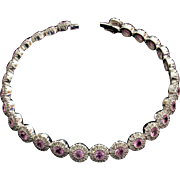 SAVE $500 in our SUPER SUMMER SALE! 5.46ctw Pink Sapphire & Diamond Tennis Bracelet