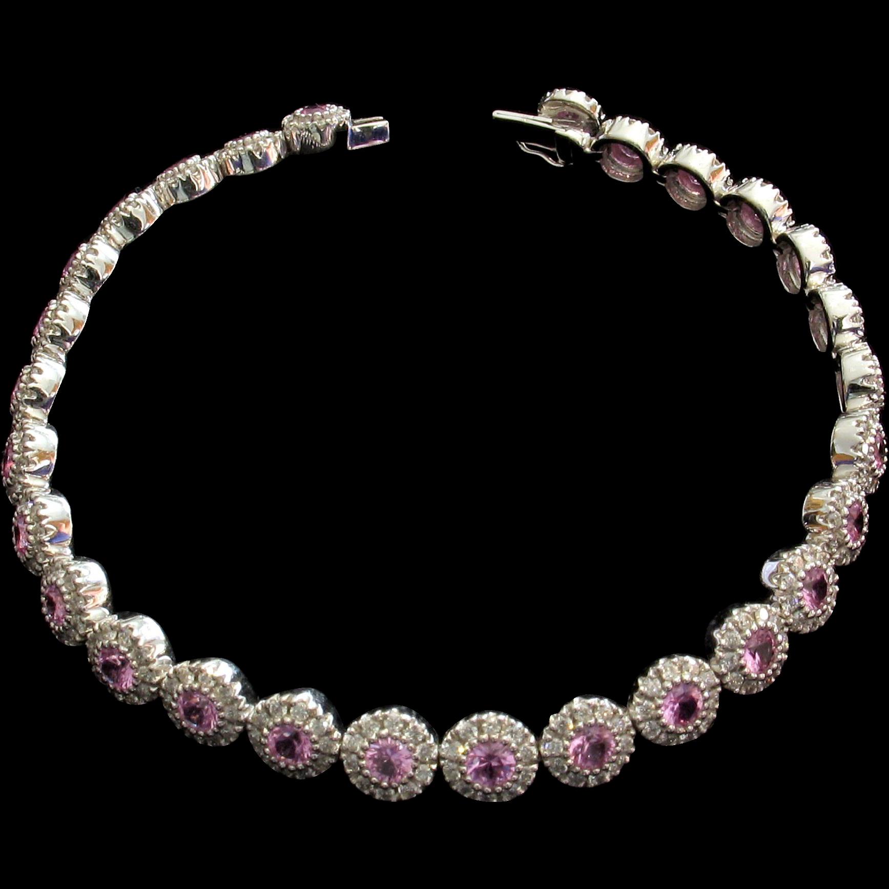 SAVE $500 in our SUPER SUMMER SALE! 5.46ctw Pink Sapphire & Diamond Tennis Bracelet