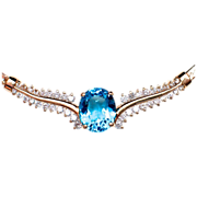 CHRISTMAS CLEAROUT SALE!  SAVE 60%! 14k Topaz Diamond Necklace - Stunningly Beautiful & appraised over $4000