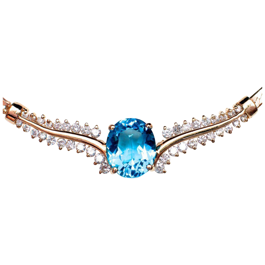 14k Topaz Diamond Necklace - Stunningly Beautiful & appraised over $4000