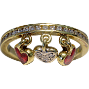 HIDALGO 18kt Diamond & Enamel Diamond Heart Dangle Ring