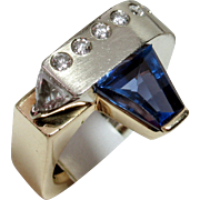 Vintage One-of-a-Kind Designer 14kt Tanzanite & Diamond Ring