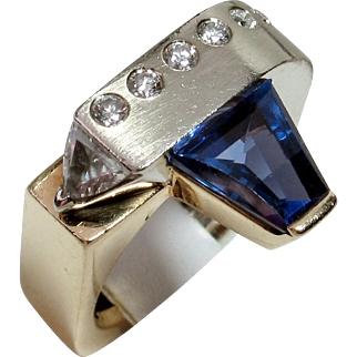 SAVE $1600 in our SUPER SUMMER SALE! Vintage One-of-a-Kind Designer 14kt Tanzanite & Diamond Ring