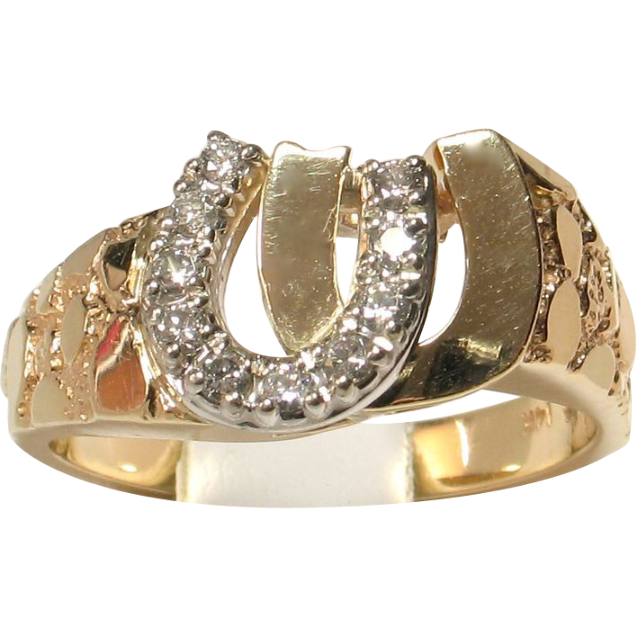 14k Yellow Gold Diamond Double Horseshoe Ring