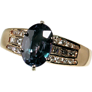 CLEARANCE! Amazing 14kt Natural Diamond and LAB Alexandrite Ring