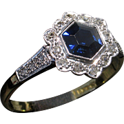 Whimsical 18kt EDWARDIAN c.1910 Sapphire & Diamond Ring