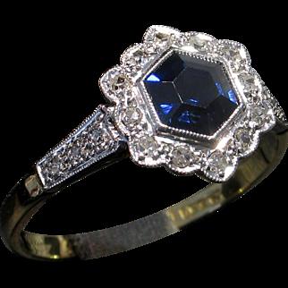 Whimsical 18kt EDWARDIAN c.1910 Sapphire & Diamond Ring