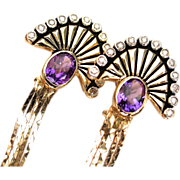 "CMCC SALE! Erte ""LA MER"" Amethyst diamond 14k Dangling Earrings"