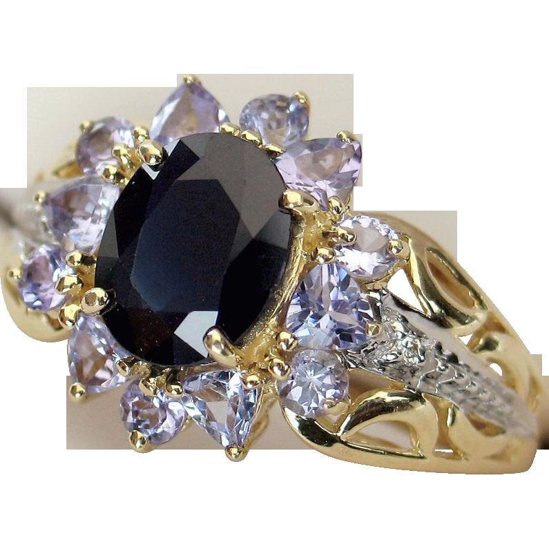 LDL SALE! 14k Spinel Tanzanite & Diamond Cocktail Ring
