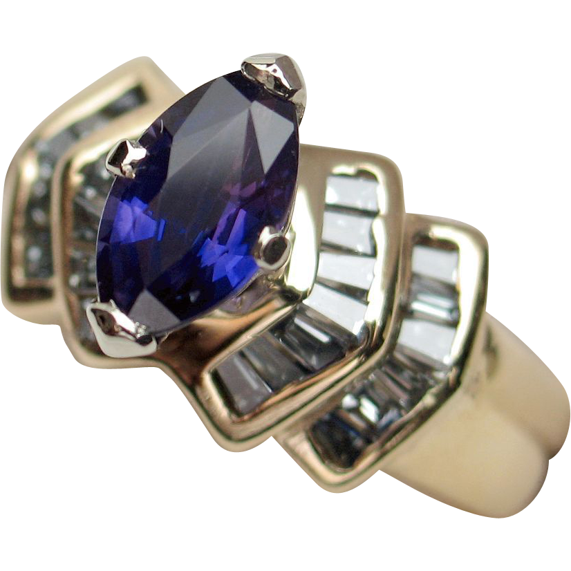 REDUCED TO CLEAR: Captivating Unheated Color-Change Sapphire & Diamond Ring