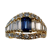 $13,850 Magnificent 4.06tcw UNHEATED Blue Sapphire & Diamond Ring
