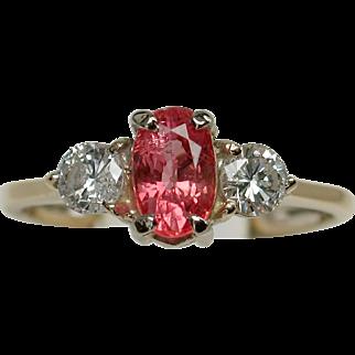 Natural 18kt Ceylon PADPARADSCHA Sapphire & Diamond Ring