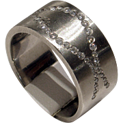 Fantastic Unisex HEAVY Solid Platinum & Diamond Band